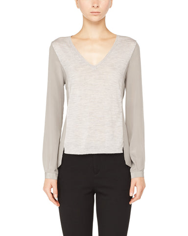 Merino Wool Mixed Media V-Neck Sweater