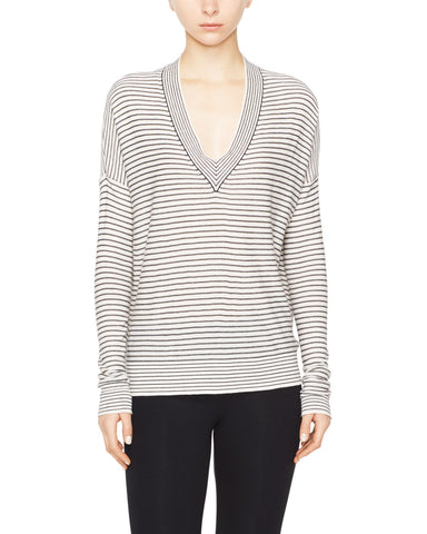 Silk Cashmere Striped Deep-V Sweater