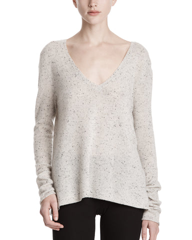color:Marble Donegal|alt:ATM Cashmere Textured V Neck Sweater
