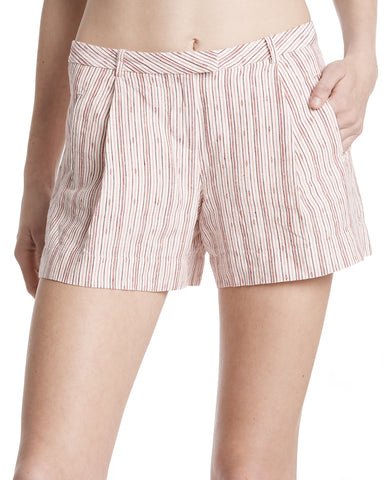 color:English Rose/Chalk|alt:ATM Textured Linen Striped Pleated Shorts