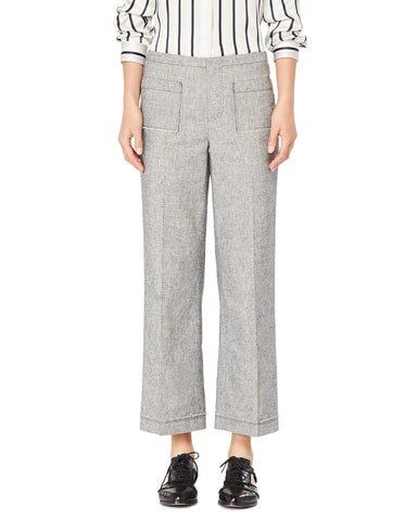 Cotton Linen Tweed Cropped	Pants