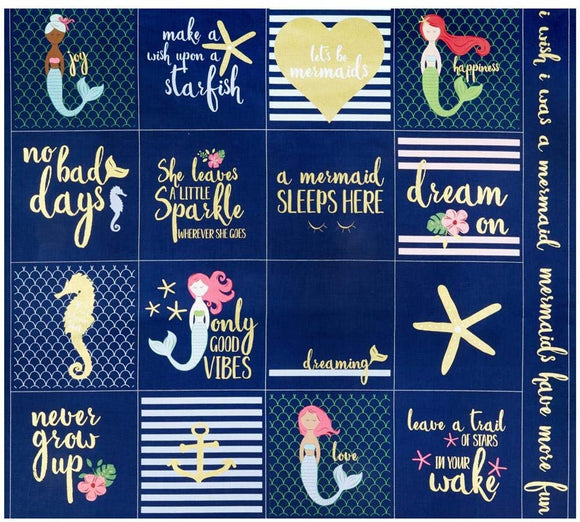 Navy Sparkle Mermaid Panel - Let's be Mermaids - Riley Blake
