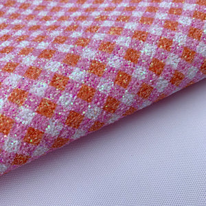 Pink & Orange Gingham Chunky Glitter Fabric