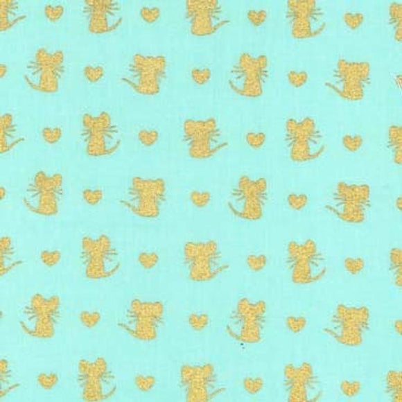 Little Mice Aqua Metallic Designer Fabric Felt