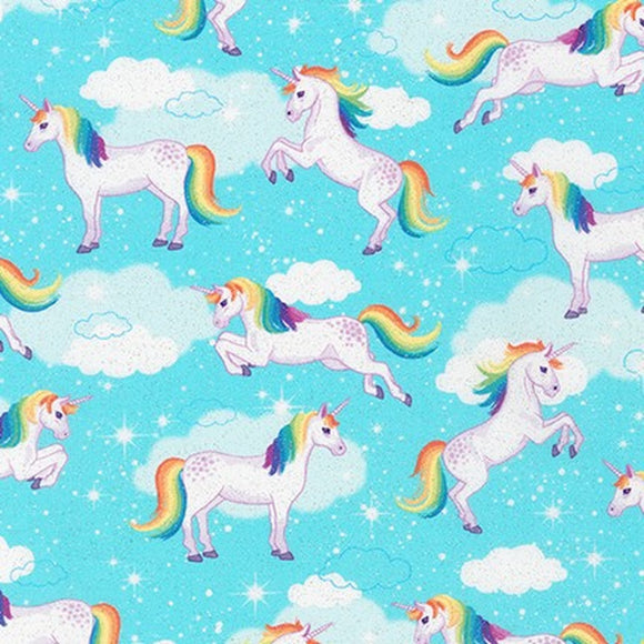 Unicorn Aqua - Enchanted Unicorns - Robert Kaufman Glitter Cotton Fabric