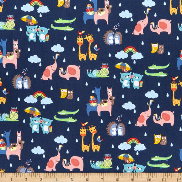 Two-By-Two Blue - Noah's Ark - Riley Blake Cotton Fabric