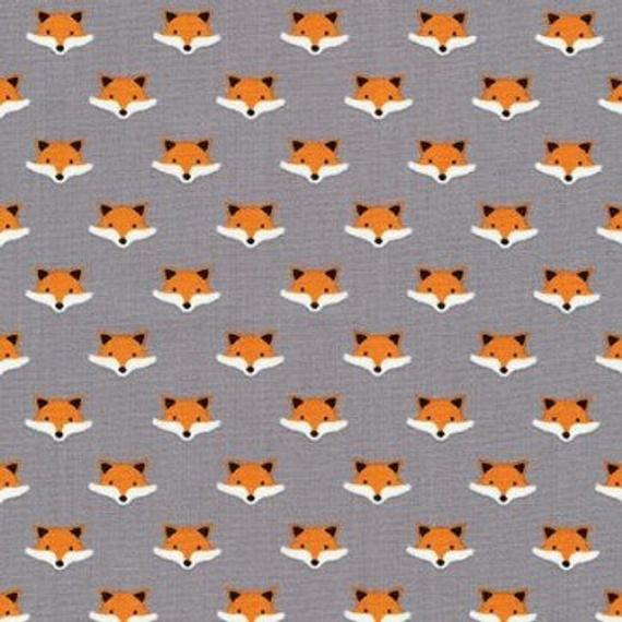 Mini Fox Heads On Grey - Andie's Minis - Robert Kaufman Cotton Fabric