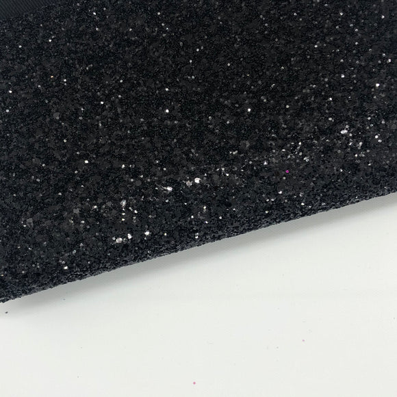 Black Chunky Glitter Fabric - Luxury Core Collection