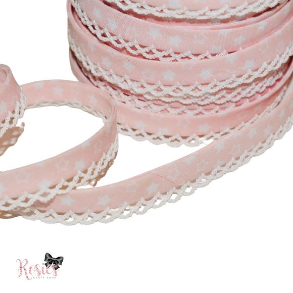 12mm Baby Pink with White Stars Pre-Folded Bias Binding with Scallop Lace Edge