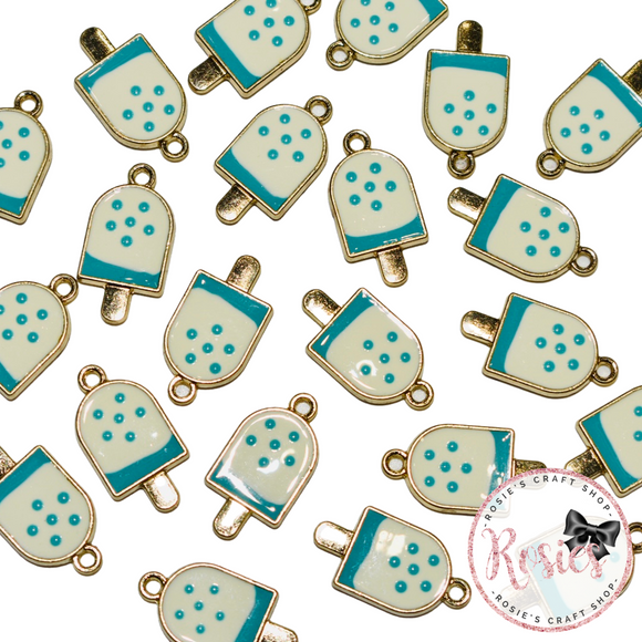 Blue Lollipop Enamel Charm 19mm x 12mm