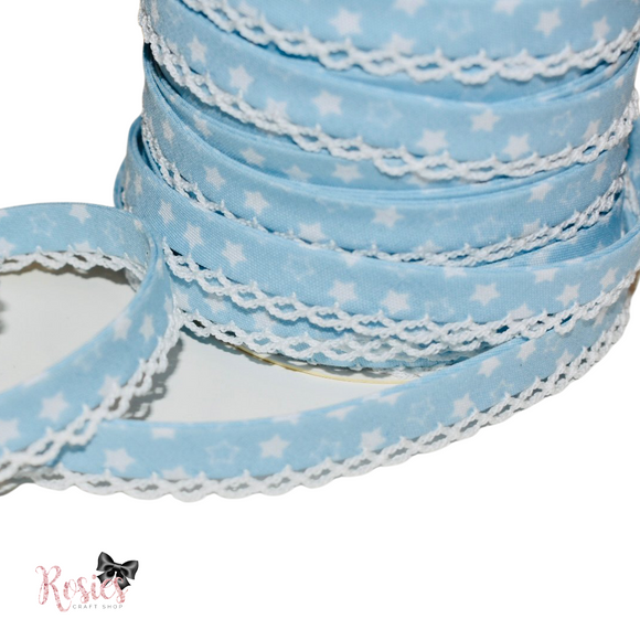 12mm Baby Blue with White Stars Pre-Folded Bias Binding with Scallop Lace Edge