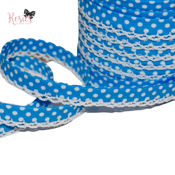 12mm Bright Blue with White Polka Dots Pre-Folded Bias Binding with Scallop Lace Edge