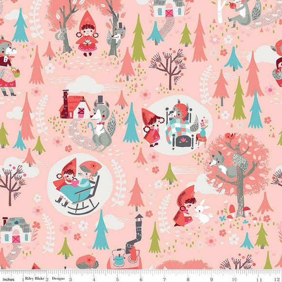 Red Riding Hood Main Pink - Little Red In The Woods by Riley Blake - 100% Cotton Fabric