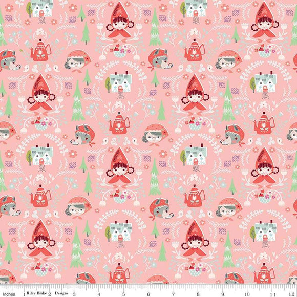Red Riding Hood Damask Minis Pink - Little Red In The Woods by Riley Blake - 100% Cotton Fabric