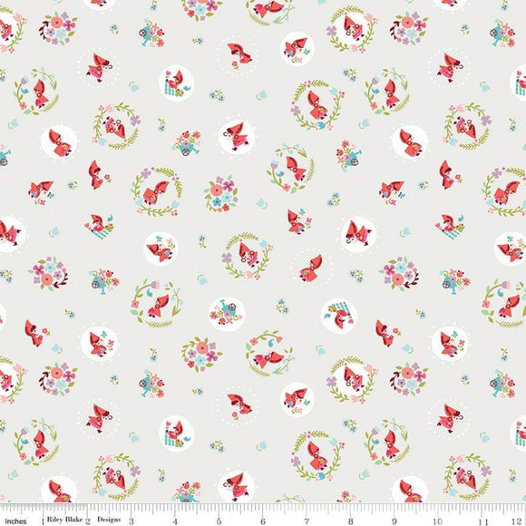 Red Riding Hood Circles Cream - Little Red In The Woods by Riley Blake - 100% Cotton Fabric