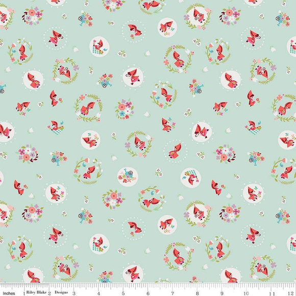 Red Riding Hood Circles Mint - Little Red In The Woods by Riley Blake - 100% Cotton Fabric