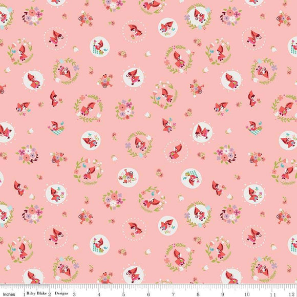 Red Riding Hood Circles Pink - Little Red In The Woods by Riley Blake - 100% Cotton Fabric