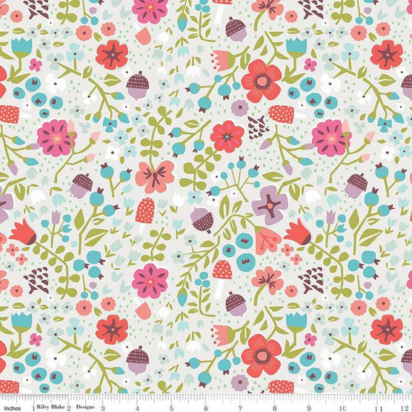 Red Riding Hood Floral Cream - Little Red In The Woods by Riley Blake - 100% Cotton Fabric