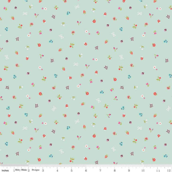Red Riding Hood Bits Mint - Little Red In The Woods by Riley Blake - 100% Cotton Fabric