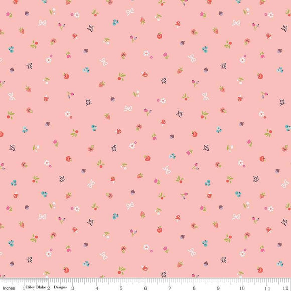 Red Riding Hood Bits Pink - Little Red In The Woods by Riley Blake - 100% Cotton Fabric