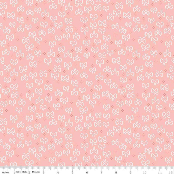 Red Riding Hood Bows Pink - Little Red In The Woods by Riley Blake - 100% Cotton Fabric