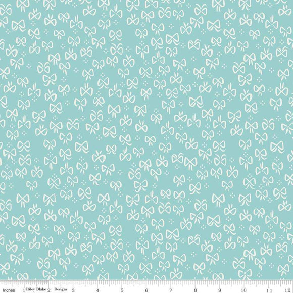 Red Riding Hood Bows Teal - Little Red In The Woods by Riley Blake - 100% Cotton Fabric