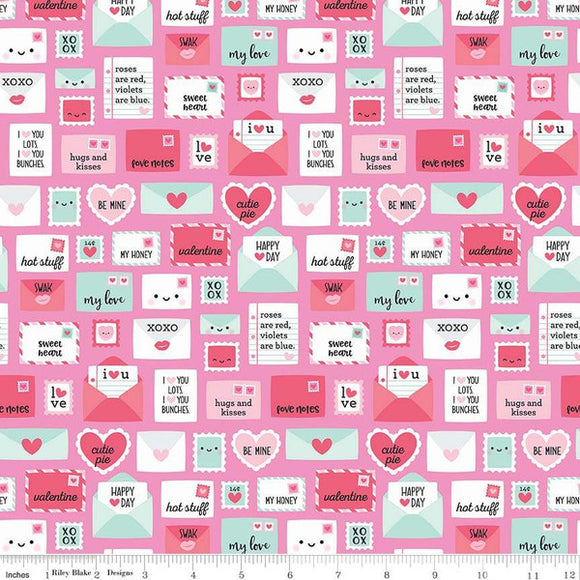 Love Letters Light Pink - Punny Valentine by Riley Blake - 100% Cotton Fabric