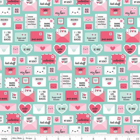 Love Letters Teal - Punny Valentine by Riley Blake - 100% Cotton Fabric