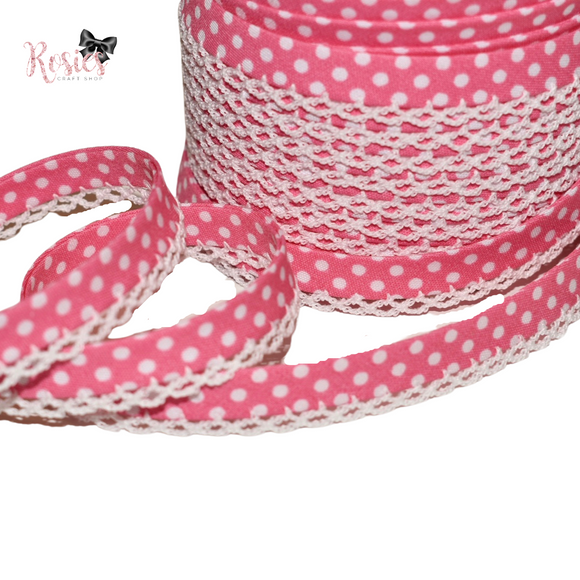 12mm Candy Pink with White Polka Dots Pre-Folded Bias Binding with Scallop Lace Edge