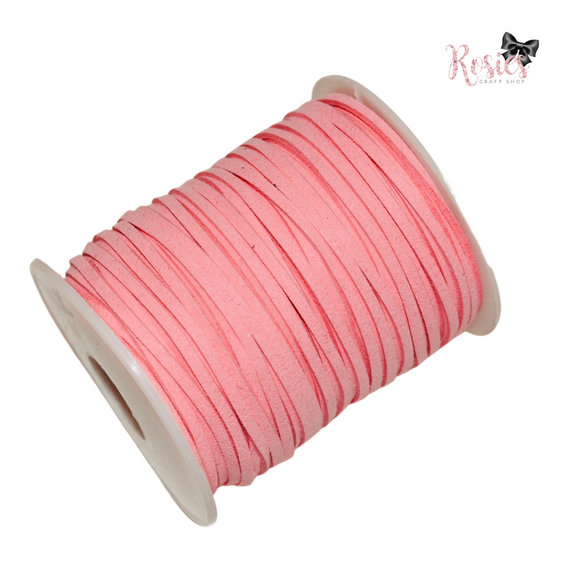 3mm Candy Pink Suede Cord