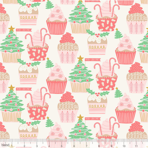 Christmas Cupcakes Ivory - Kringle's Sweet Shop by Blend - 100% Cotton Fabric - Rosie's Craft Shop Ltd