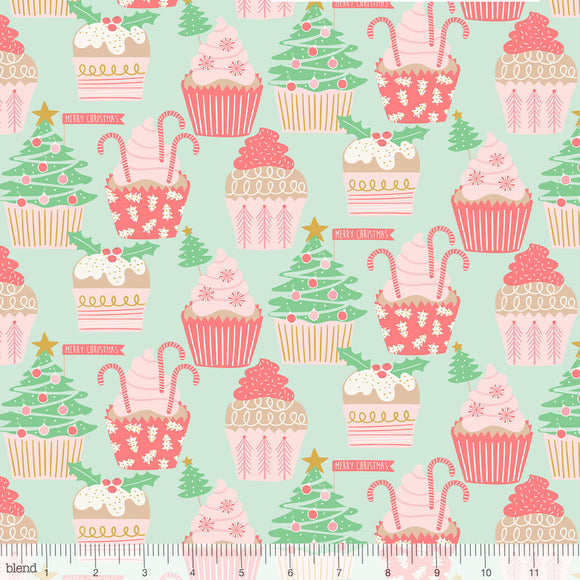 Christmas Cupcakes Mint - Kringle's Sweet Shop by Blend - 100% Cotton Fabric - Rosie's Craft Shop Ltd