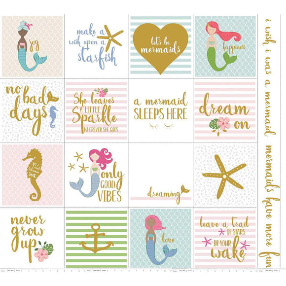 White Sparkle Mermaid Panel - Let's be Mermaids - Riley Blake