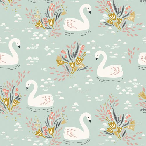 Swans on Blue - Dovestone by Dashwood Studio 100% Cotton Fabric - Rosie's Craft Shop Ltd