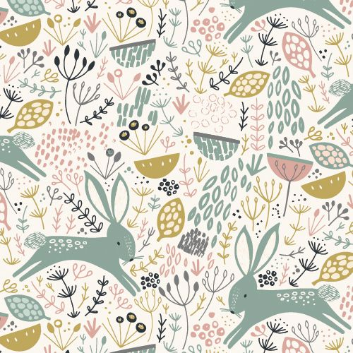 Rabbit Floral on White - Dovestone by Dashwood Studio 100% Cotton Fabric - Rosie's Craft Shop Ltd