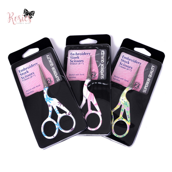 Patterned Stork Embroidery Scissors