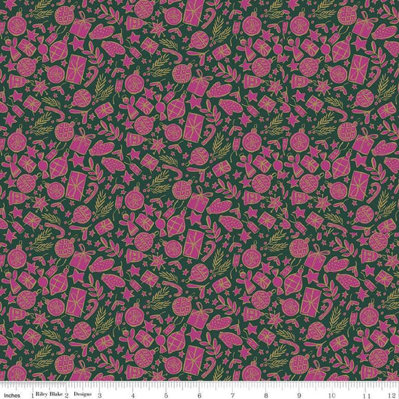 Festive Cheer Gold Metallic on Green/Pink - Liberty Season's Greetings Collection