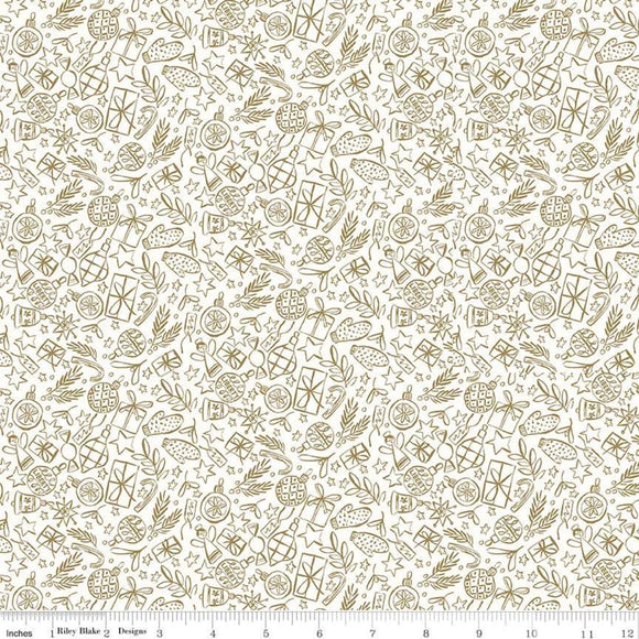 Festive Shine Gold Metallic on White - Liberty Season's Greetings Collection