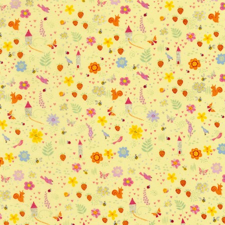 Flowers and Strawberries on Yellow with Glitter Fabric Felt - Rosie's Craft Shop Ltd