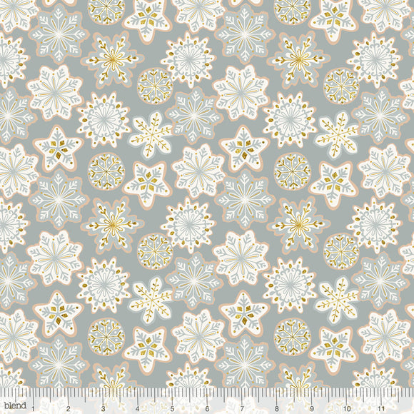 Frosted Glitter Snowflakes Grey - Kringle's Sweet Shop by Blend - 100% Cotton Fabric - Rosie's Craft Shop Ltd