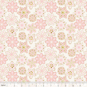 Frosted Glitter Snowflakes Pink Fabric Felt - Rosie's Craft Shop Ltd
