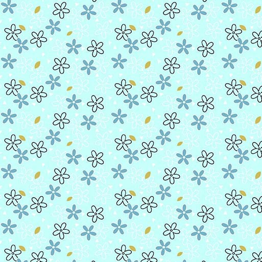 Aqua Glitter Daisy - Believe by Michael Miller 100% Cotton Fabric - Rosie's Craft Shop Ltd