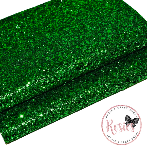 Emerald Green Chunky Glitter Fabric - Luxury Core Collection