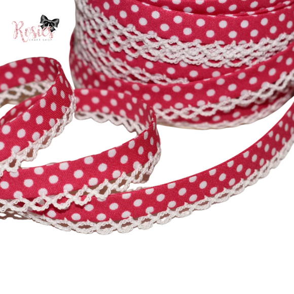 12mm Hot Pink with White Polka Dots Pre-Folded Bias Binding with Scallop Lace Edge