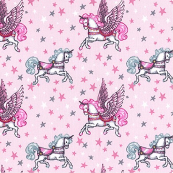 Pegasus The Unicorn on Pink 100% Cotton Fabric - Rosie's Craft Shop Ltd