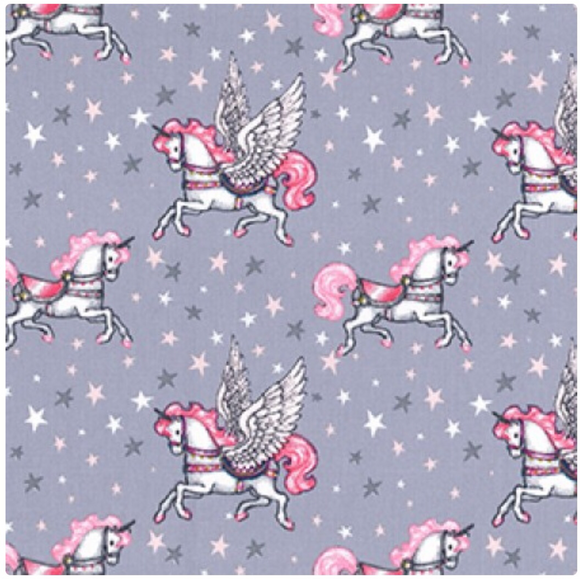 Pegasus The Unicorn on Grey Fabric Felt - Rosie's Craft Shop Ltd