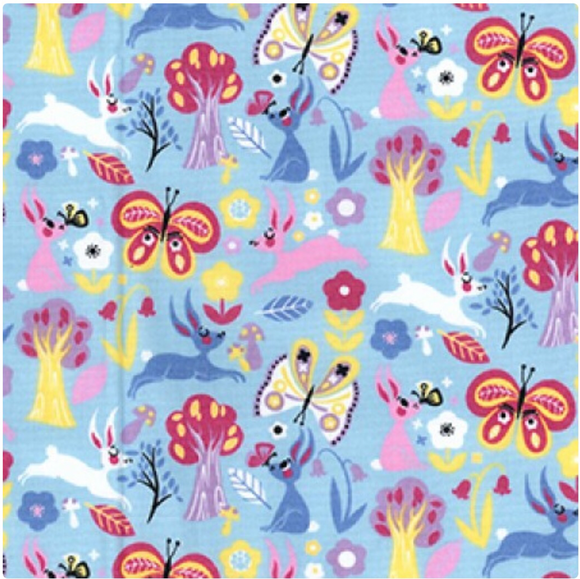 Bunnies and Butterflies on Blue 100% Cotton Fabric - Rosie's Craft Shop Ltd