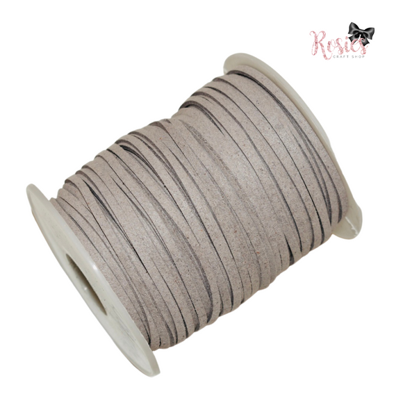 3mm Light Grey Suede Cord