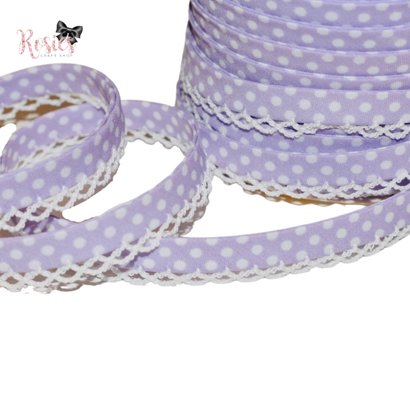 12mm Lilac with White Polka Dots Pre-Folded Bias Binding with Scallop Lace Edge