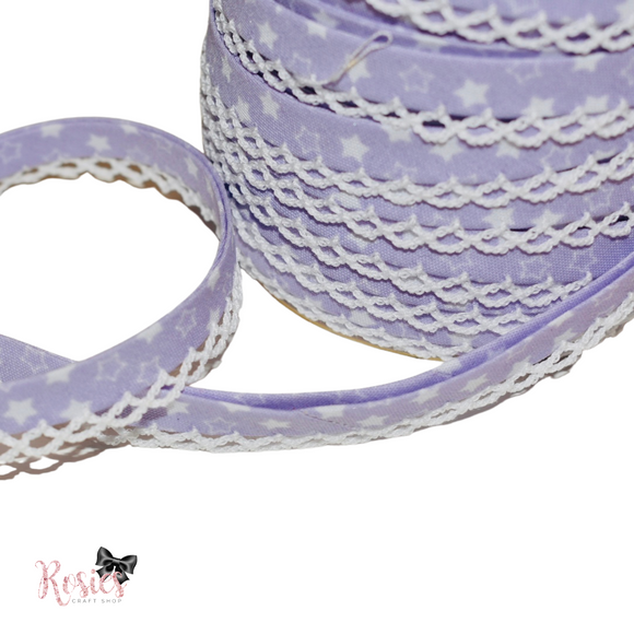 12mm Lilac with White Stars Pre-Folded Bias Binding with Scallop Lace Edge
